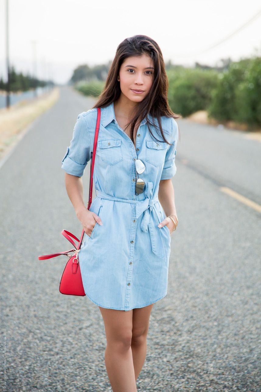 How to Wear a Chambray Shirtdress | Jean dress outfits