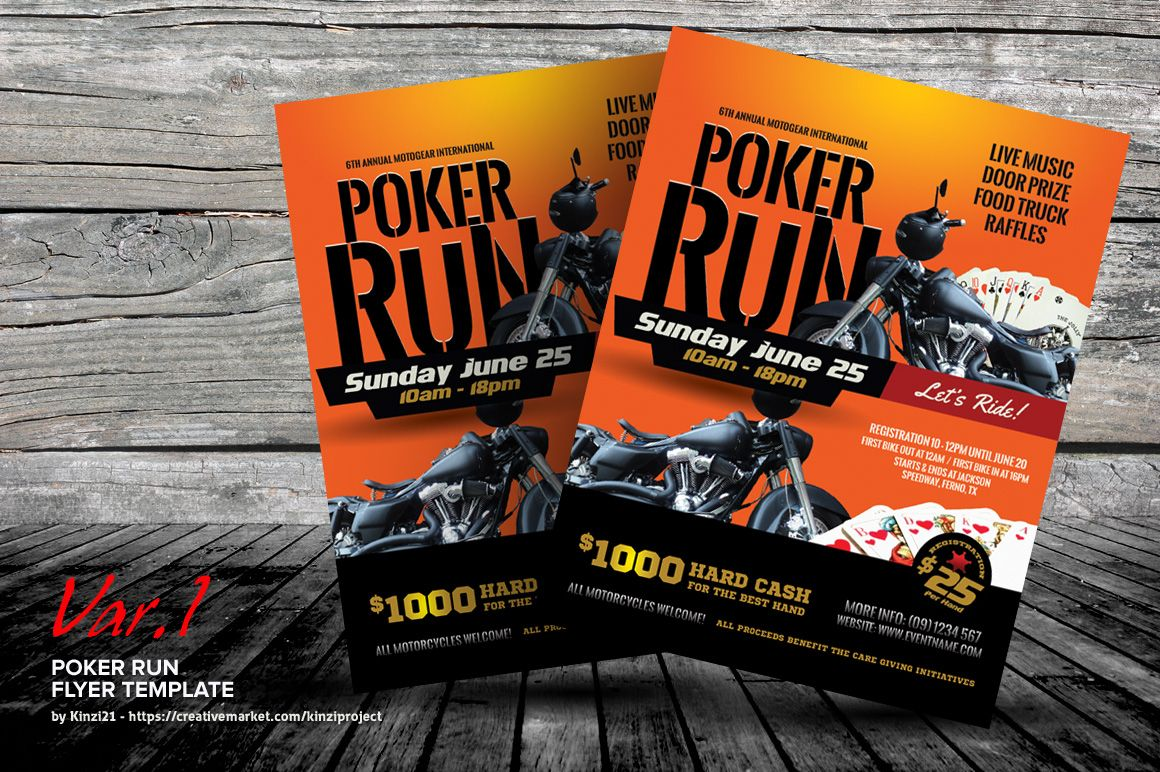 Poker Run Flyer Templates By Kinzi21 On Creativemarket Poker