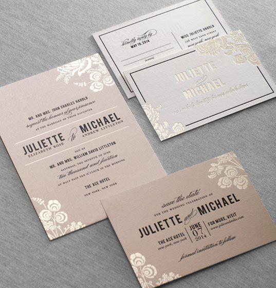 Stinson gold foil wedding invitations