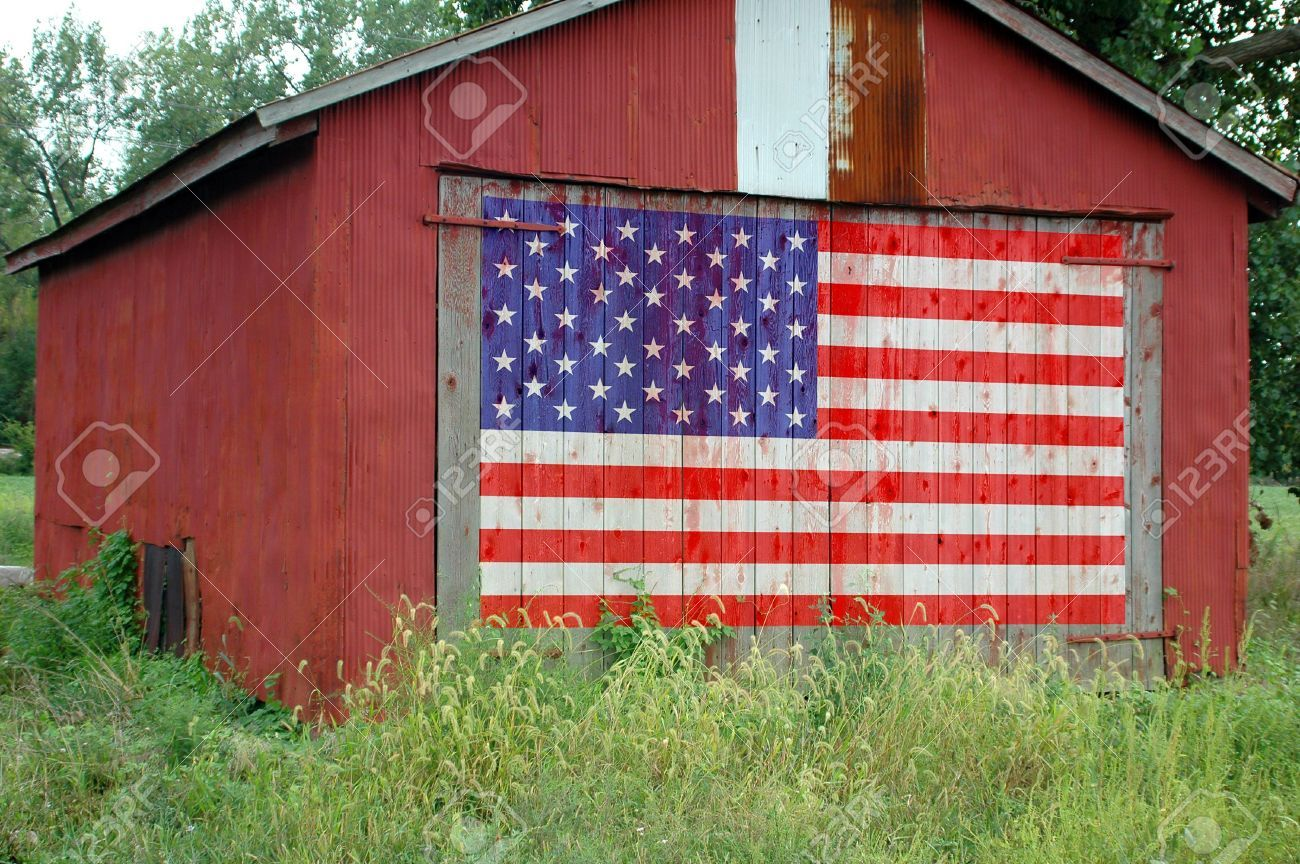 Stock Photo American Flag Painting Flag Painting Barn Signs