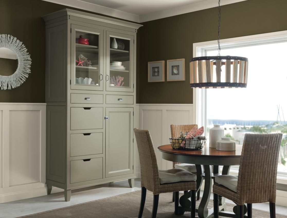 Decora Cabinetry\'s Hutchinson Inset china cabinet in a sage green ...