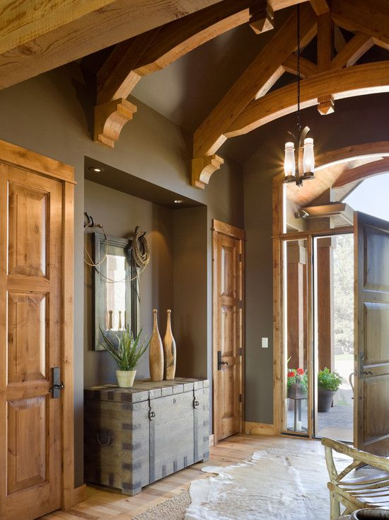 Dark Foyer Paint : Entry foyer peaked ceiling wall color dark paint earthy