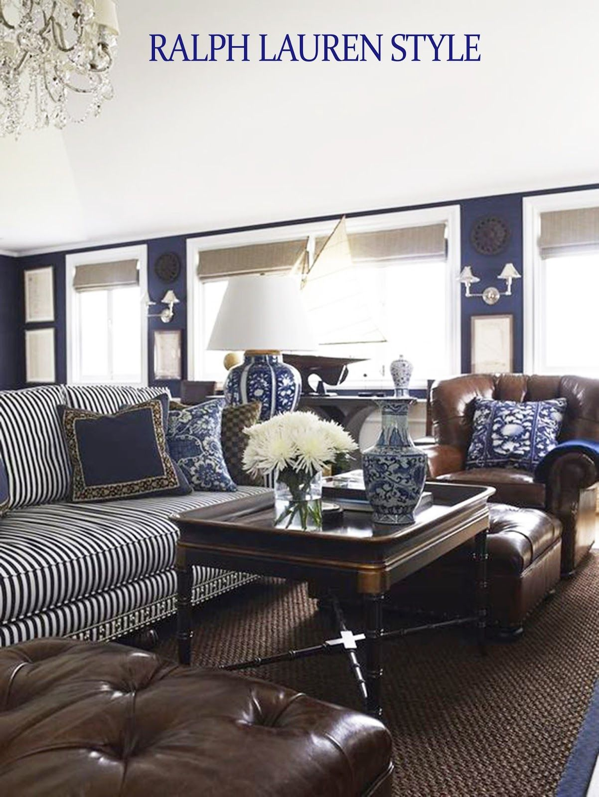 Coastal style ralph lauren in navy brown ralph for Ralph lauren living room designs