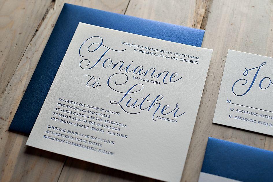 Royal Blue Letterpress Wedding Invitation