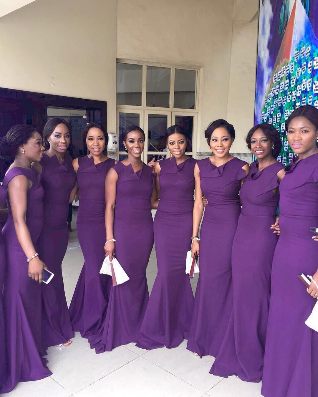 Gorgeous bridesmaids long dresses in gray for Nigerian wedding ...