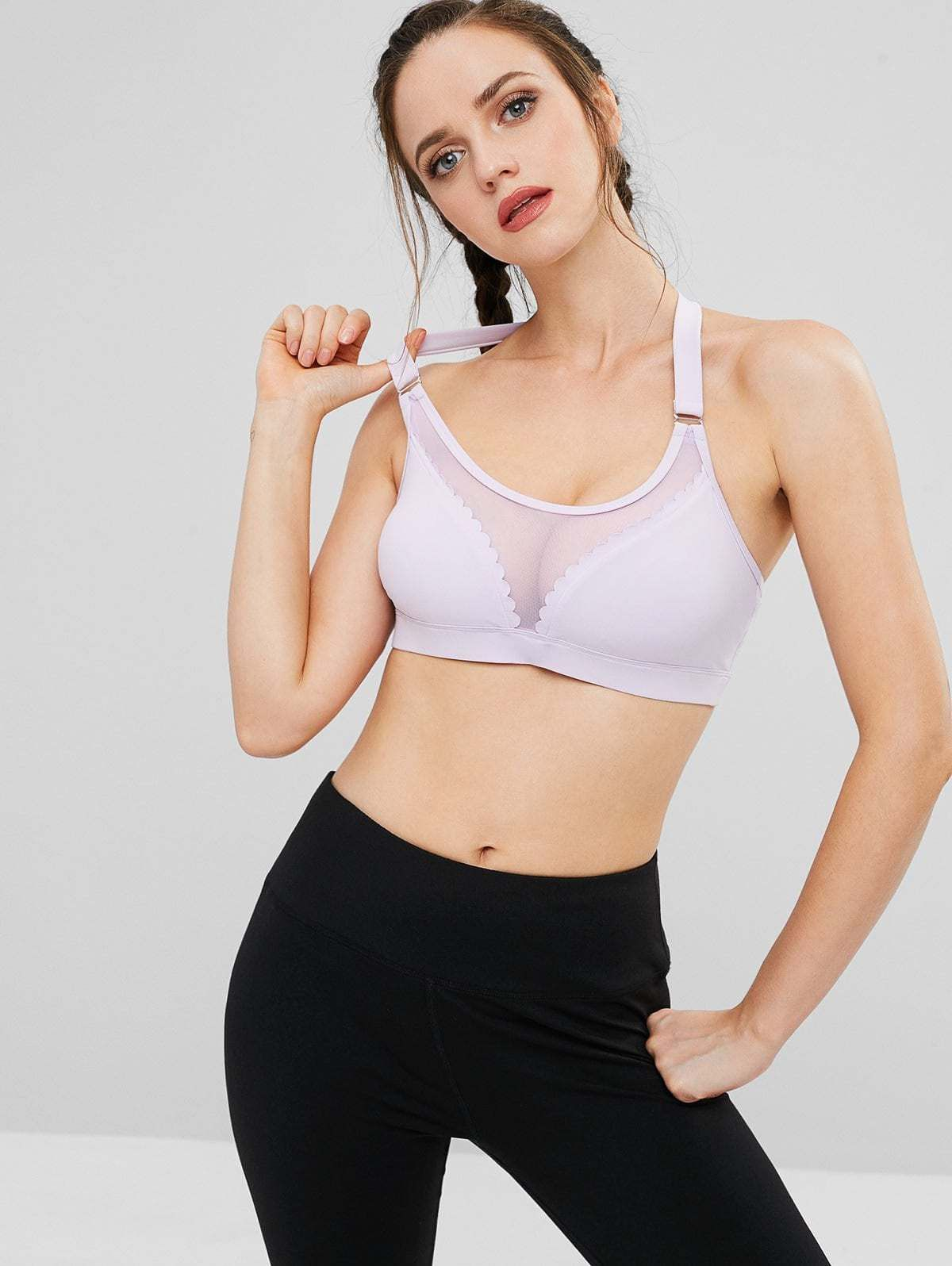 7c1d633d8c ZAFUL Mesh Insert Scalloped Sports Bra