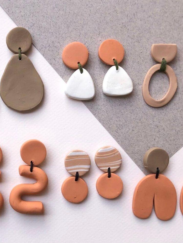 Modern Jewelry Polymer Clay and Resin Earrings Gift for Girlfriend Peach Bar Stud Earrings Cute Rose Gold Earrings Cool Earrings