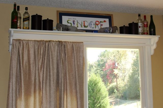 Shelf With Curtain Rod Above Sliding Doors Fabric Is Just Draped