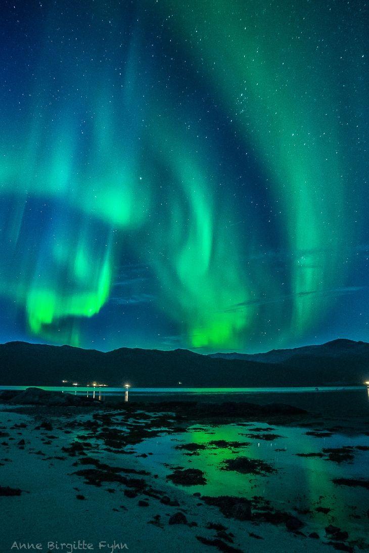 Auroras  Taken by Anne Birgitte Fyhn on September 16, 2014 @ Kvaløya Island, Tromsø, Norway