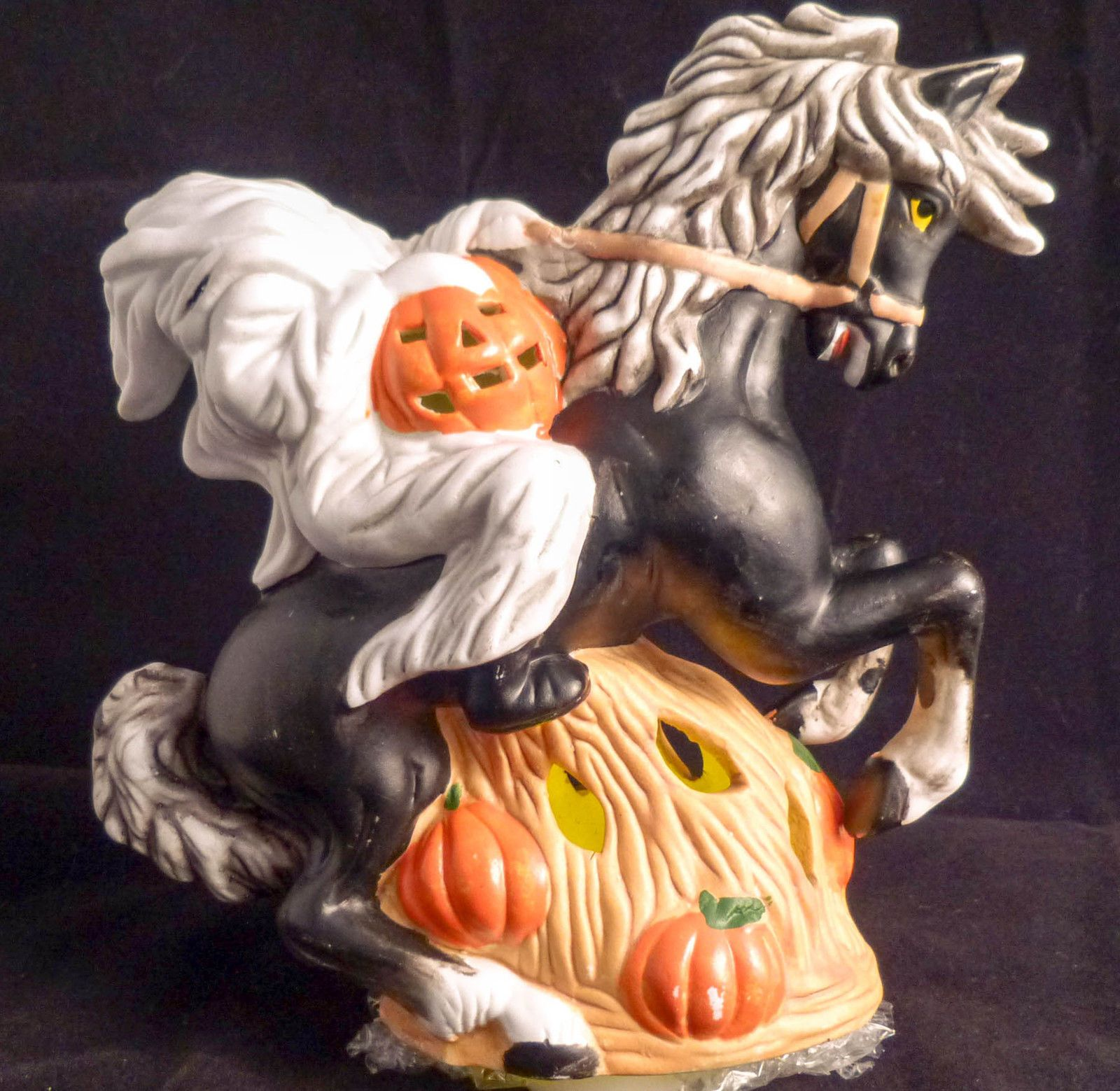 Halloween Ceramic Headless Horseman Ghost Holding Pumpkin