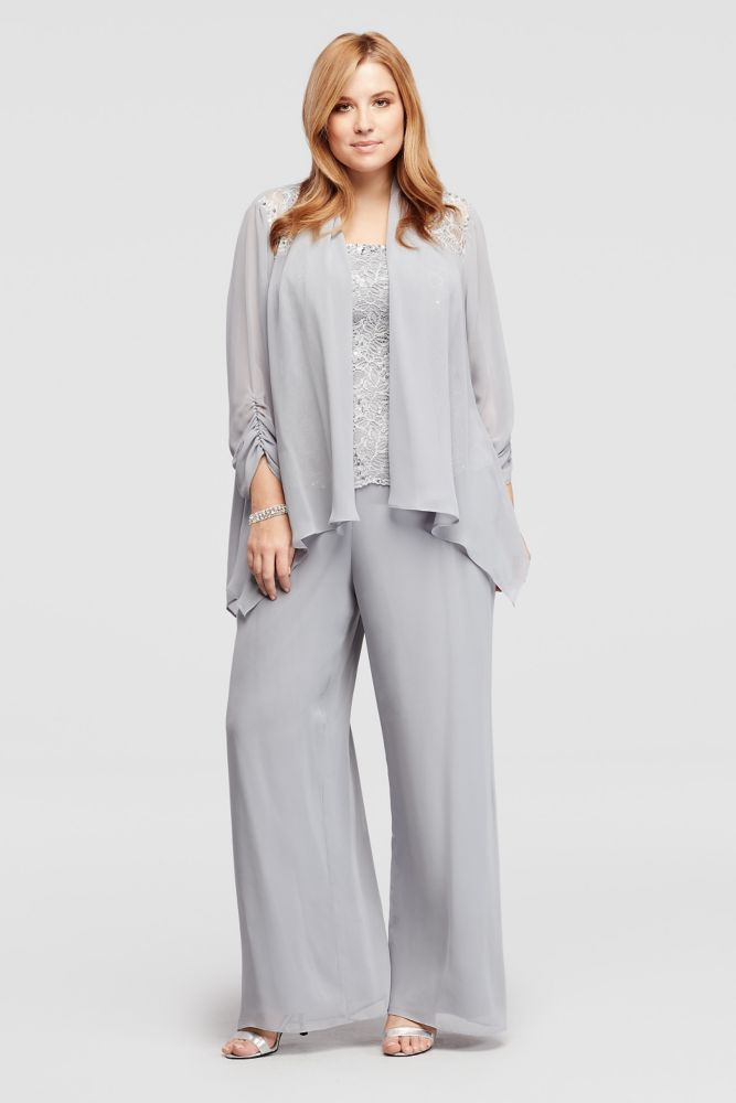 90bcadf883f Plus Size Three Piece Beaded Chiffon Pant Suit - Silver