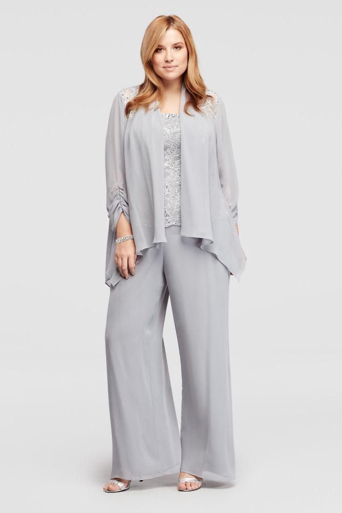 Plus Size Three Piece Beaded Chiffon Pant Suit - Silver, 14W ...