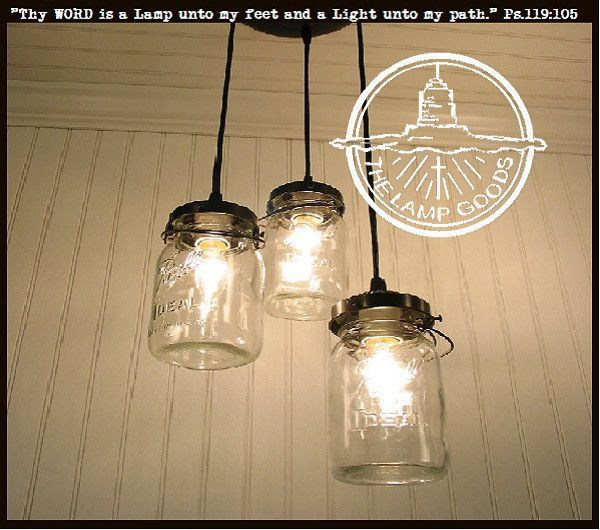 Mason Jar 3-Light Chandelier Trio of Vintage Quart Jars #kronleuchterauseinmachgläsern