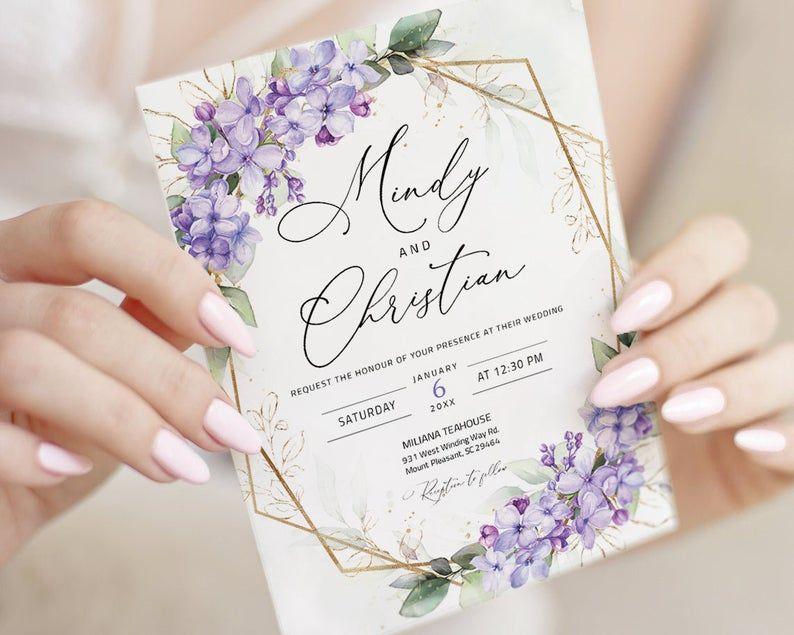 Lilac Wedding Invitation Template Lavender Wedding Invitation Purple Wedding Invitation Purple And Green Purple Floral Wedding Alina Lavender Wedding Invitations Lilac Wedding Invitations Lilac Wedding Themes