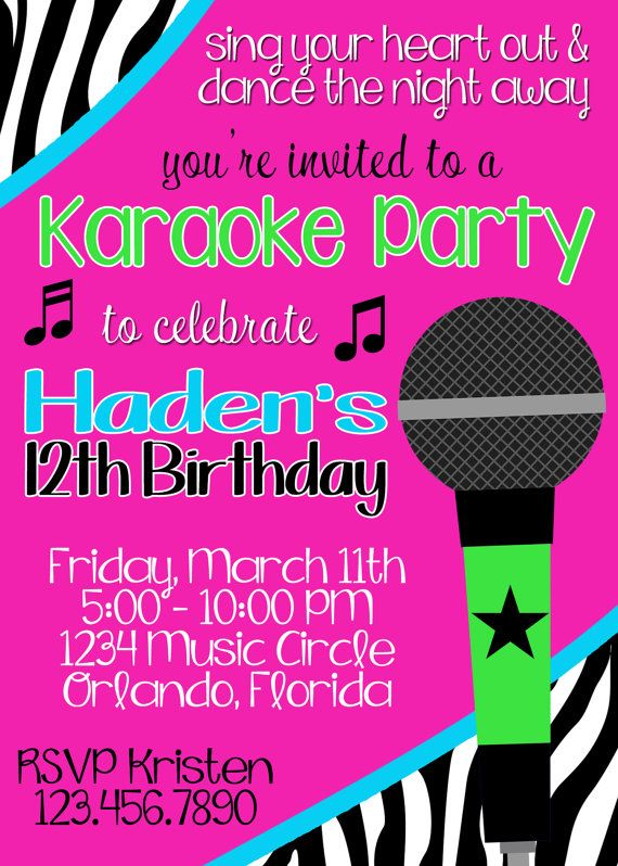 Unavailable Listing On Etsy Karaoke Party Party Invite Template Karaoke