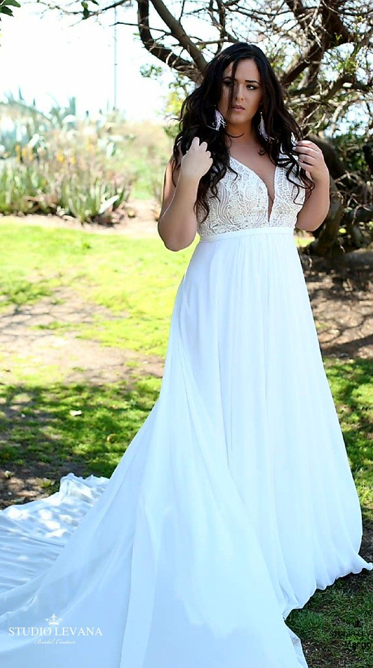 Bohemian plus size bridal gown with detachable sleeves margo