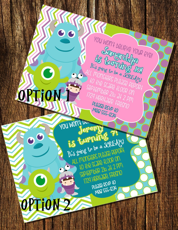 Monsters Inc Inspired Birthday Invitation Invitaciones De Monsters Inc Cumpleanos De Monsters Inc Fiesta De Monster Inc
