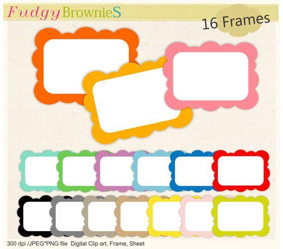 Square Frames clip art, Digital frame,kids birthday invitations, 16 ...