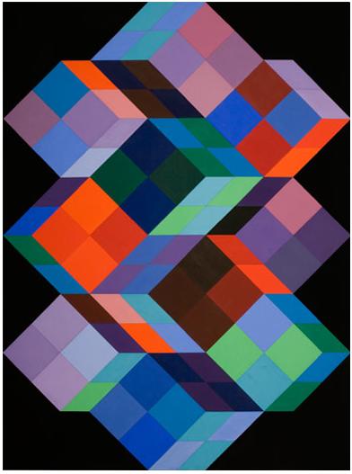 """Quilt inspiration! ArtG315. """"Tridim K."""" by Victor Vasarely / Bechtler Museum of Modern Art / 1968"""