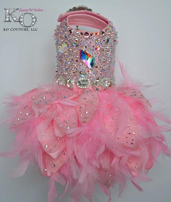 Perro vestido, color de rosa de cristal de Swarovski cubre vestido ...