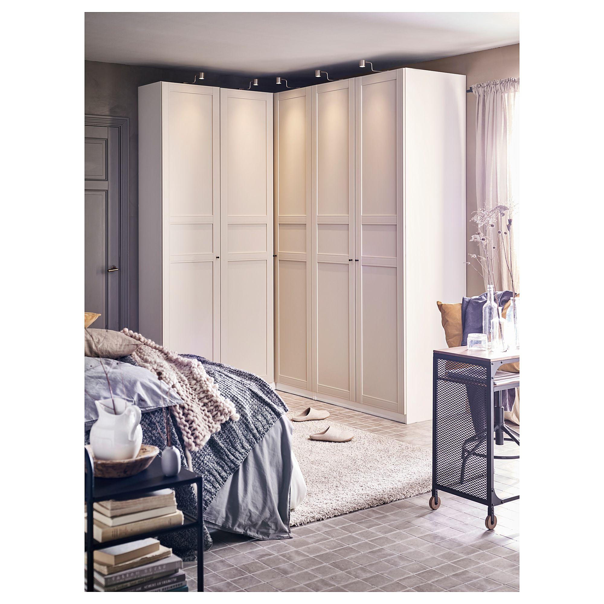 Tringle D Angle Dressing pax corner wardrobe - white, flisberget light beige 63 1/8