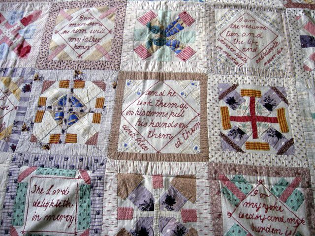 Block and Bible verse patchwork coverlet