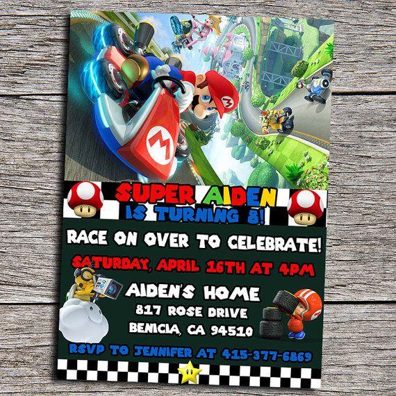 Mario Kart Birthday Party Invitation Digital by DottyDigitalParty