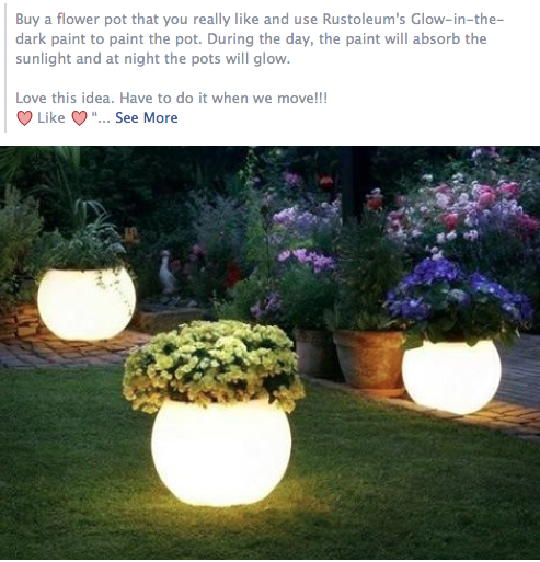 Pinterest & glow in the dark paint on pots. Spray paint at home depot ...