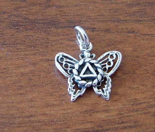 Sterling Silver Alcoholics Anonymous Aa Symbol Butterfly Pendant