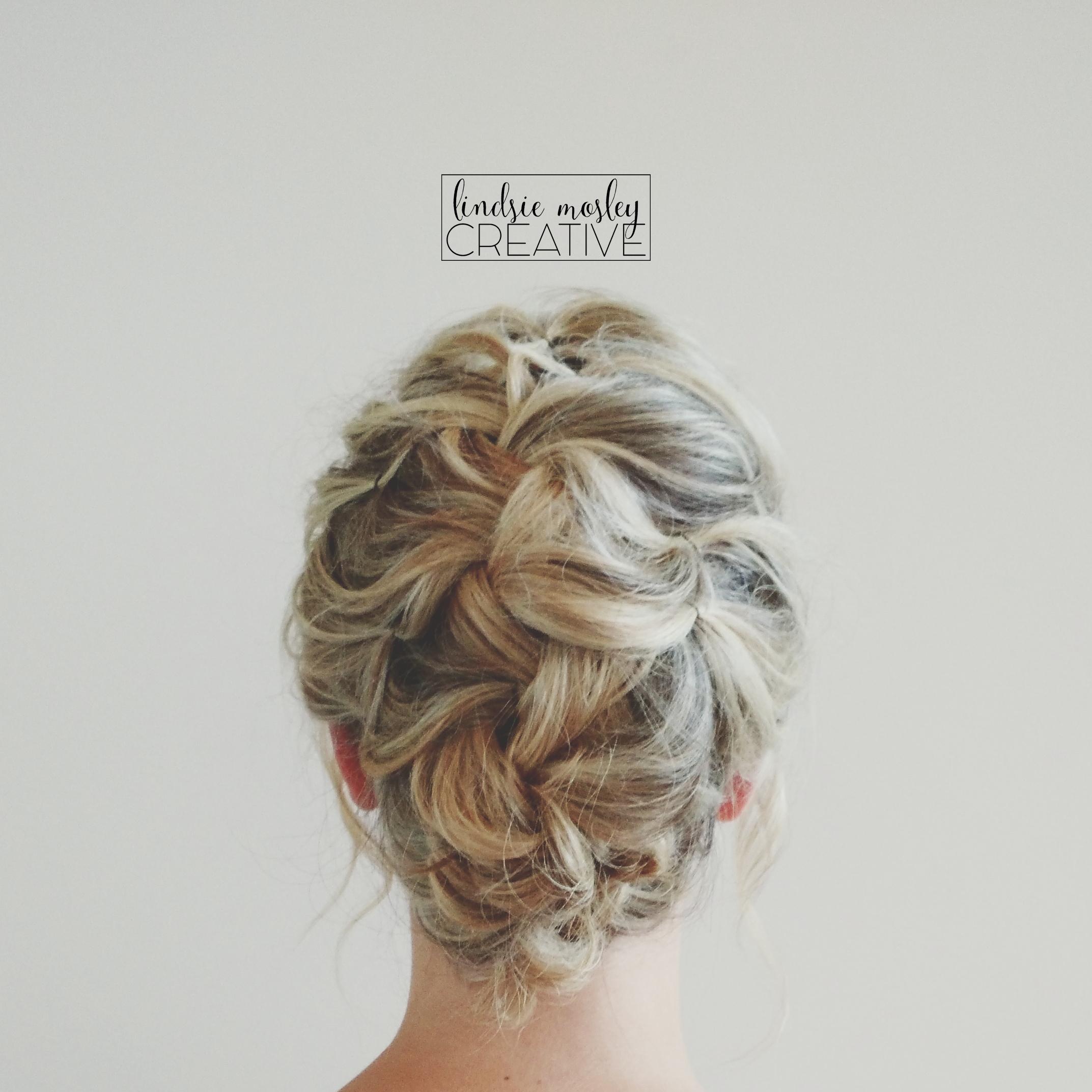 Messy french braid wedding updo on shoulder length hair.   Nice Hair ...