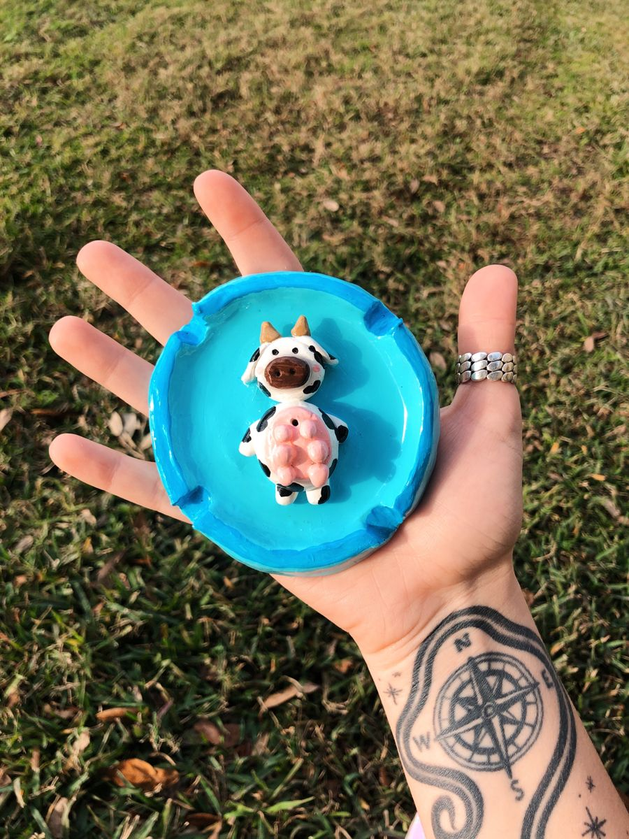 Cute Cow Ashtray/Incense Holder