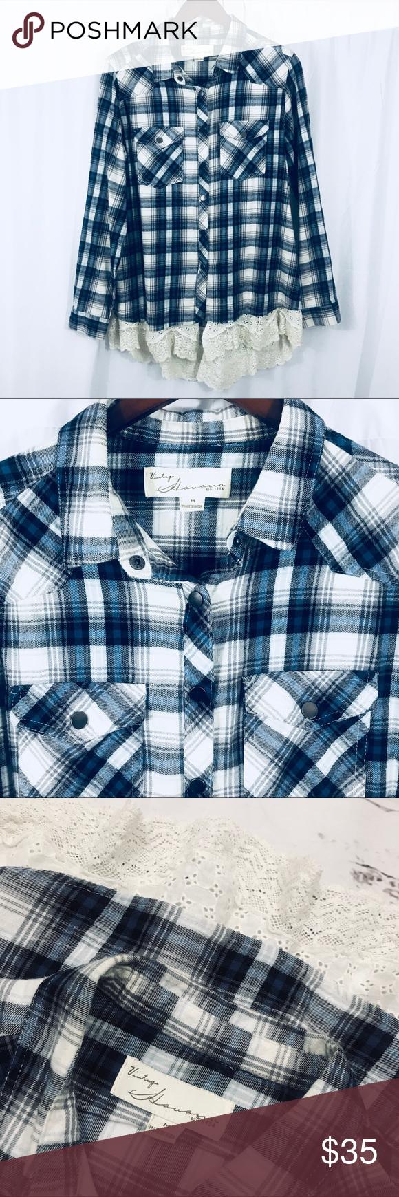 Mandarin collar flannel  Blue plaid high low lace flannel shirt medium  Blue plaid Flannel