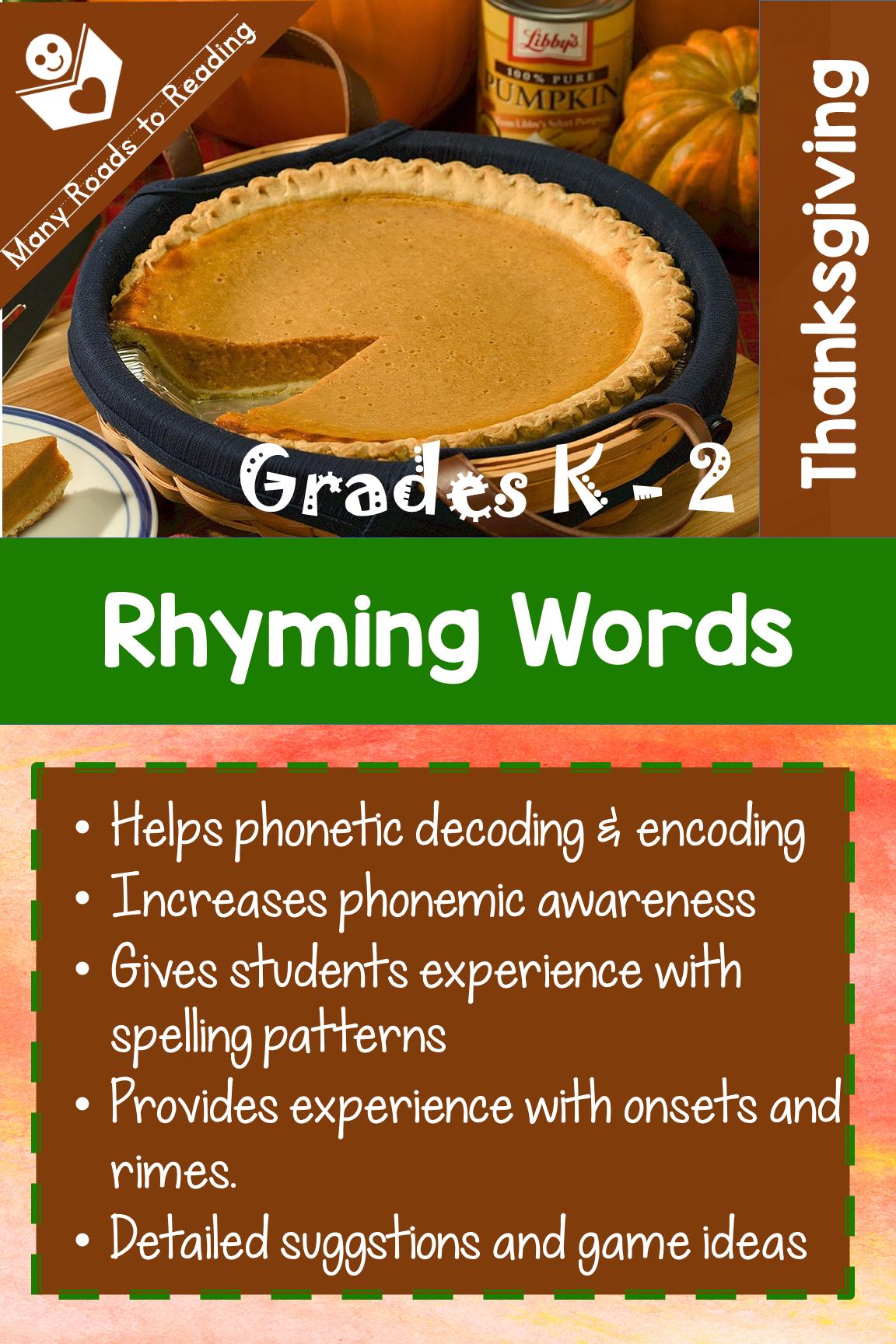 Thanksgiving Rhyming Words K 2