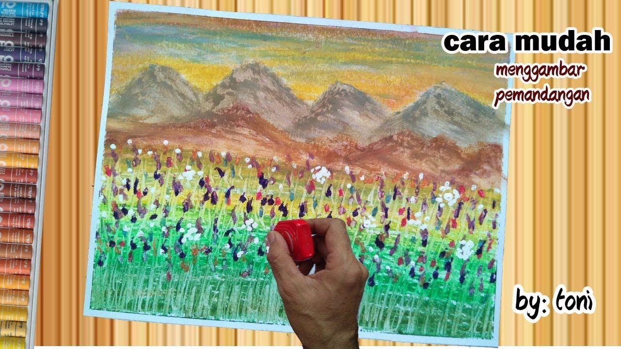 Cara Menggambar Dan Mewarnai Dengan Crayon Gunung Dan Bunga