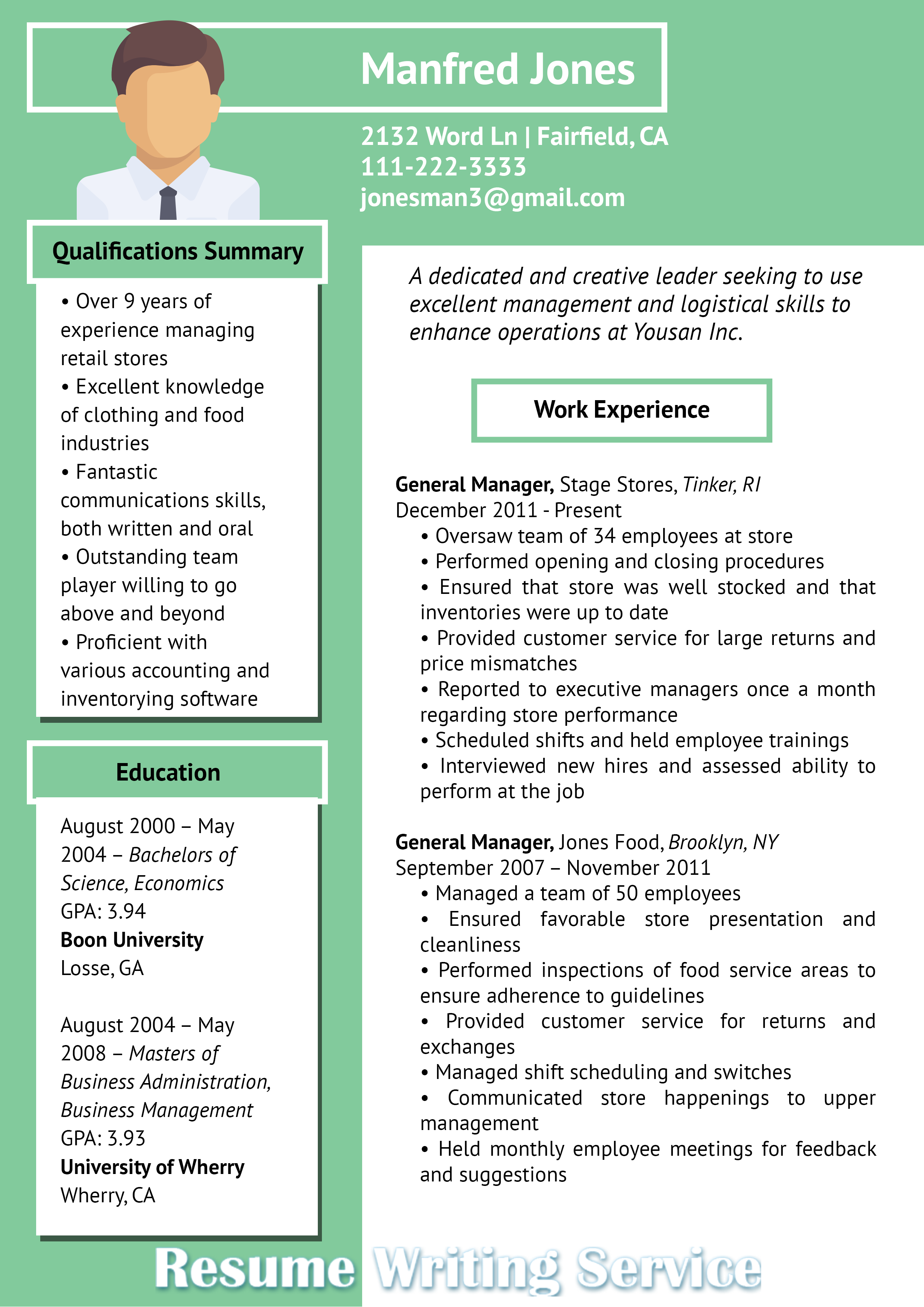 Business Resume Examples 2018