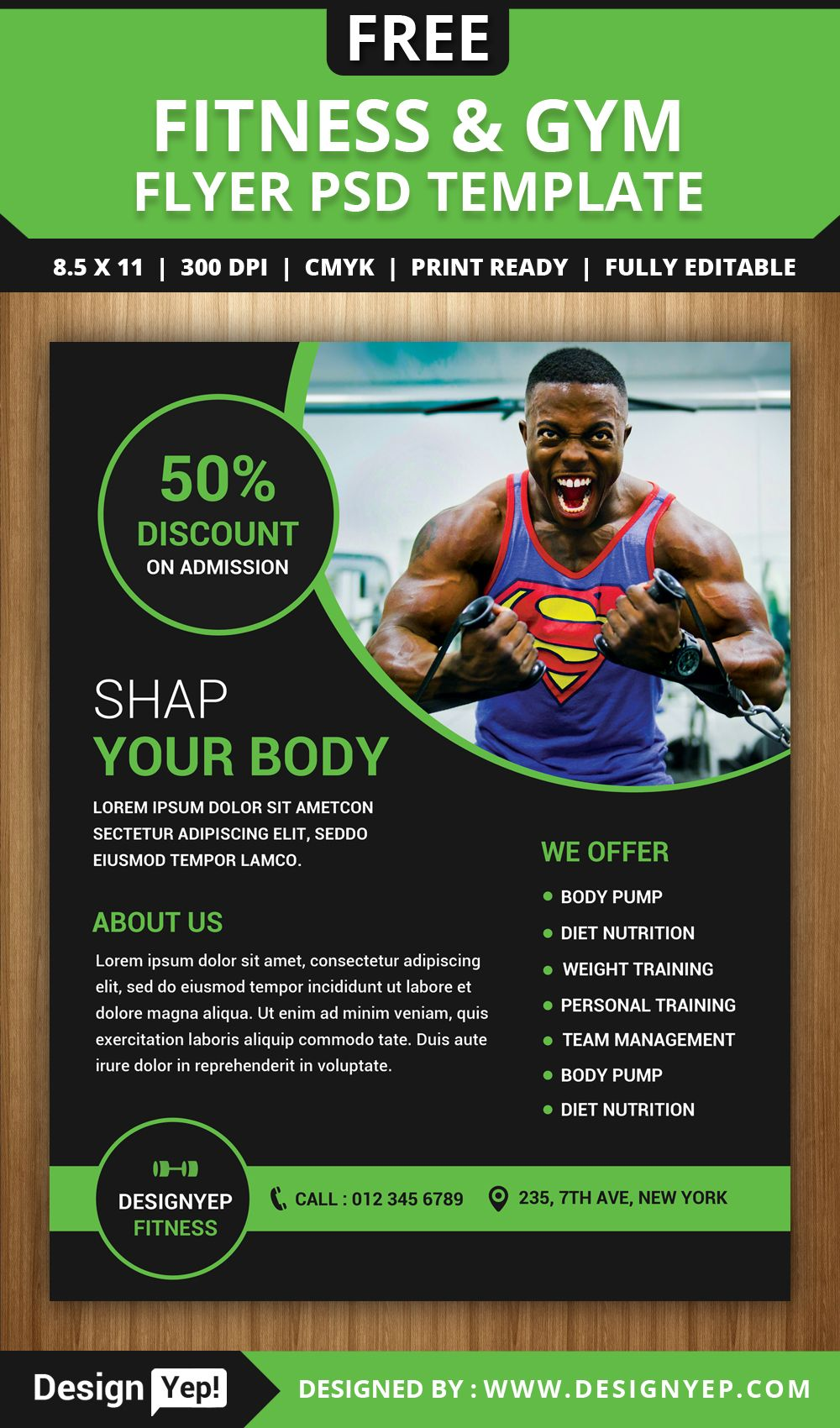 Free Gym And Fitness Flyer Psd Template Fitness Flyer Flyer