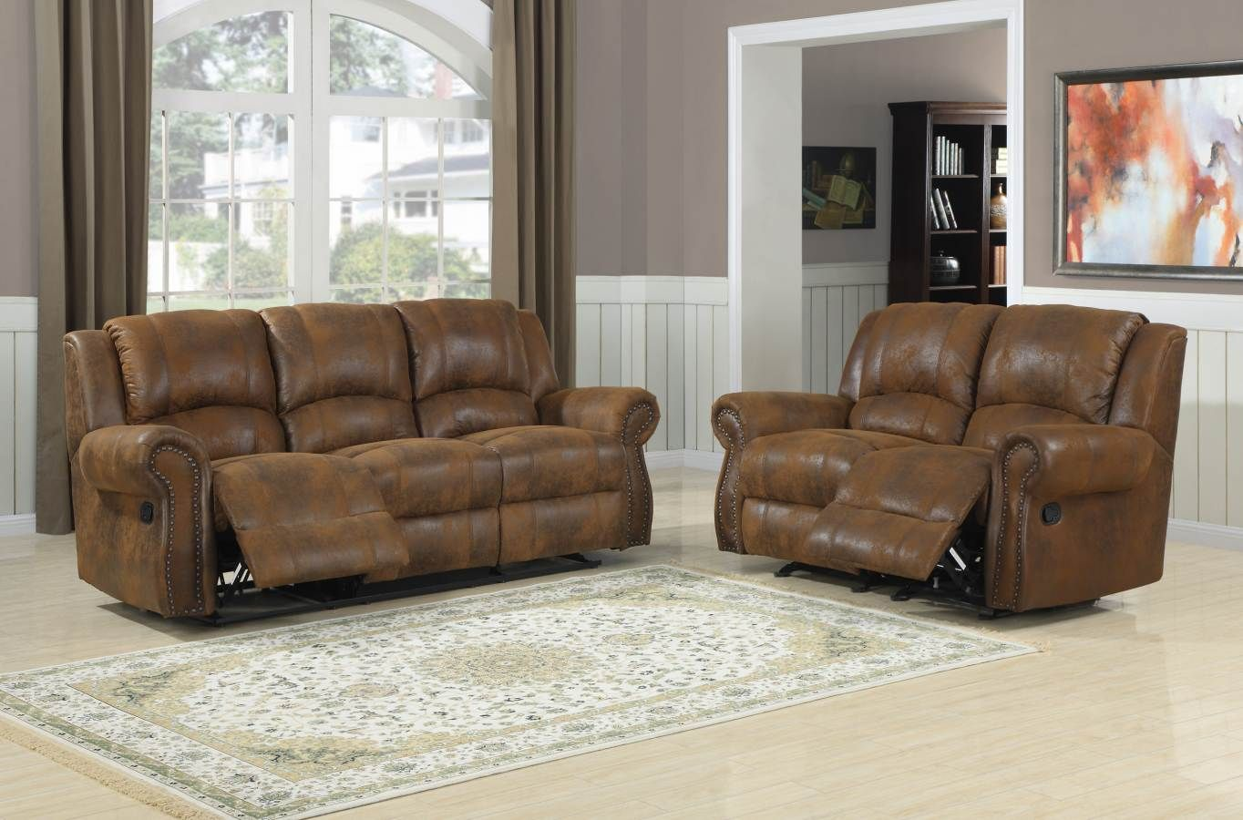 Furniture & Design :: Living room furniture :: Sofas and Sets :: Motion sofa  sets :: 2 pc Quinn collection brown bomber jacket microfiber fabric  upholstered ... - Quinn Bomber Jacket Microfiber Metal Double Rocker Recliner Love