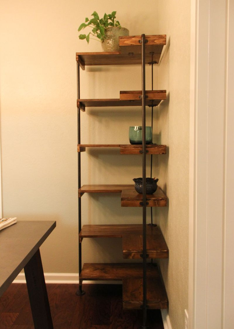 Making A Rustic Industrial Free Standing Corner Shelf Set Diy Corner Shelf Rustic Corner Shelf Diy Shelves