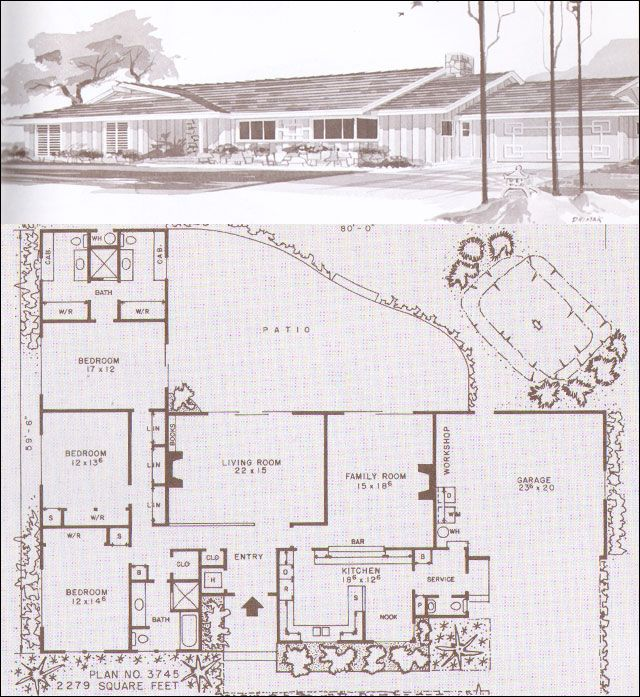 Lovely mid century modern rancher house plan with courtyard potential