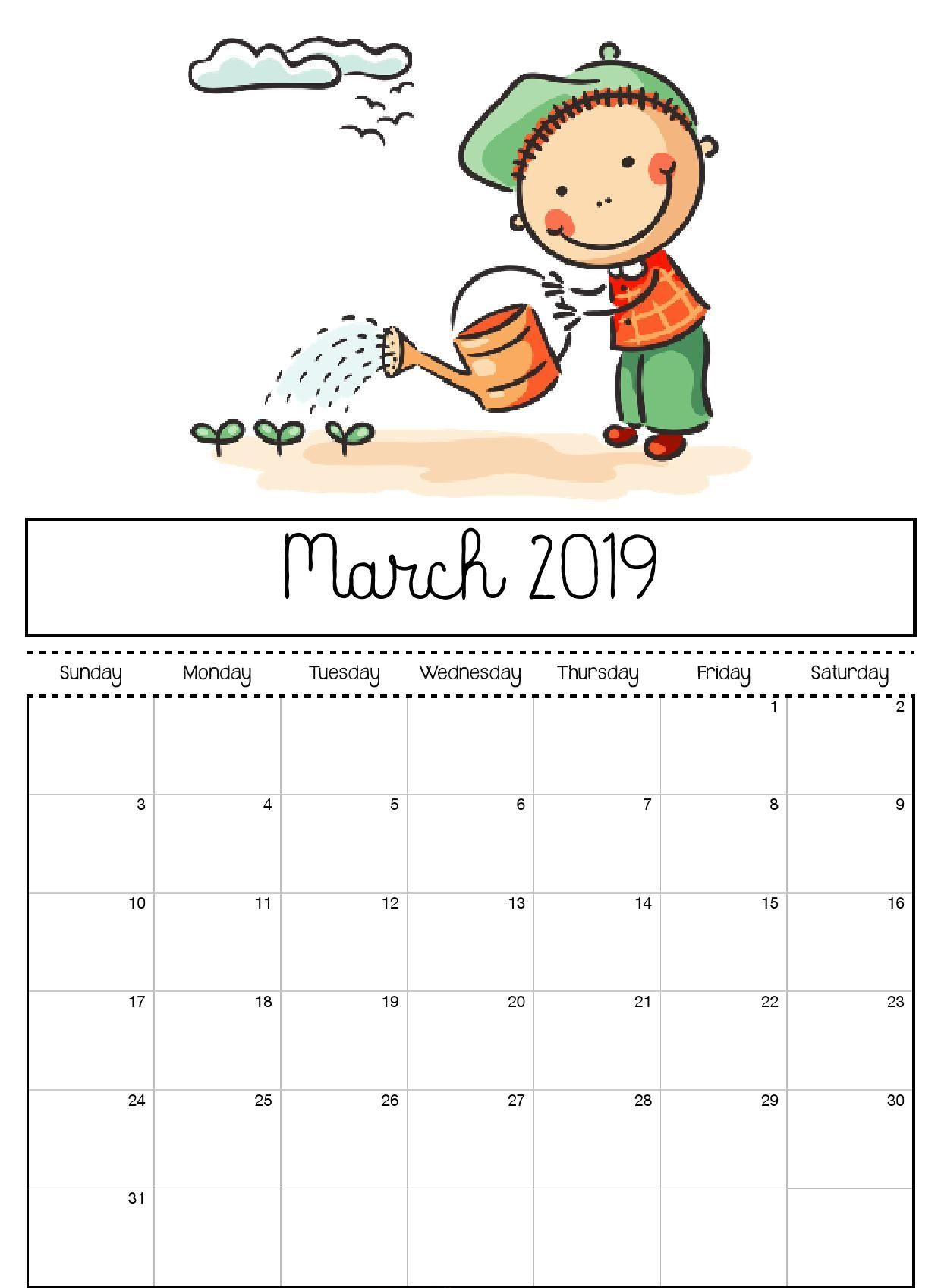 March Printable Calendar For Kids