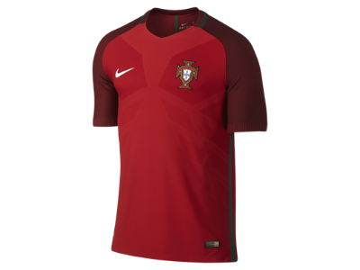 Nike 2016 Portugal Match Home Men's Soccer Jersey, Gym Red/Deep Garnet/White