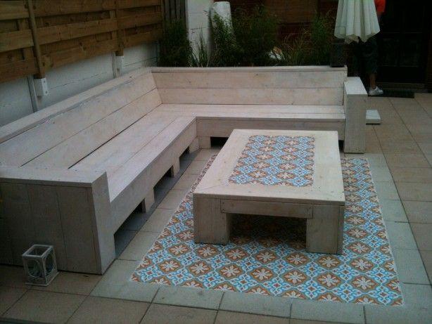 Portugese Tegels Tuin : Tuin portugese tegels met steigerhout door vivit teras