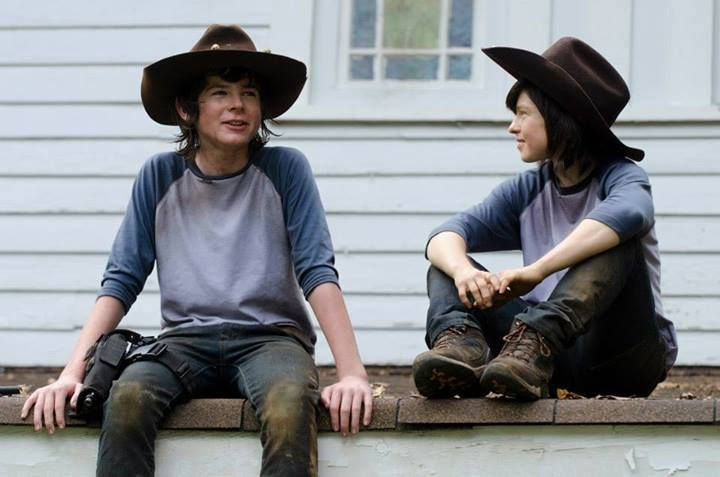Chandler Riggs and stunt double