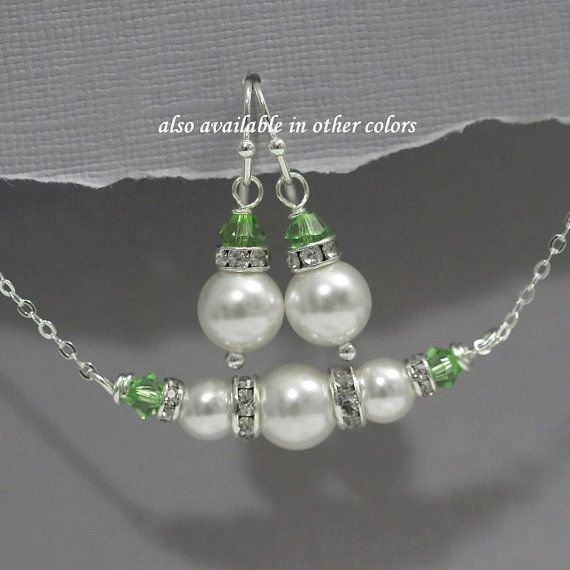 Light Green Necklace and Earrings Set, Pearl Jewelry, Peridot, Pearl Necklace, Bridesmaid Gift, Bridesmaid Jewelry, Green Wedding -   - #Bridesmaid #Earrings #Gift #green #jewelry #jewelryholder #jewelryorganization #jewelryset #light #Necklace #pearl #peridot #Set #wedding #pearljewelry