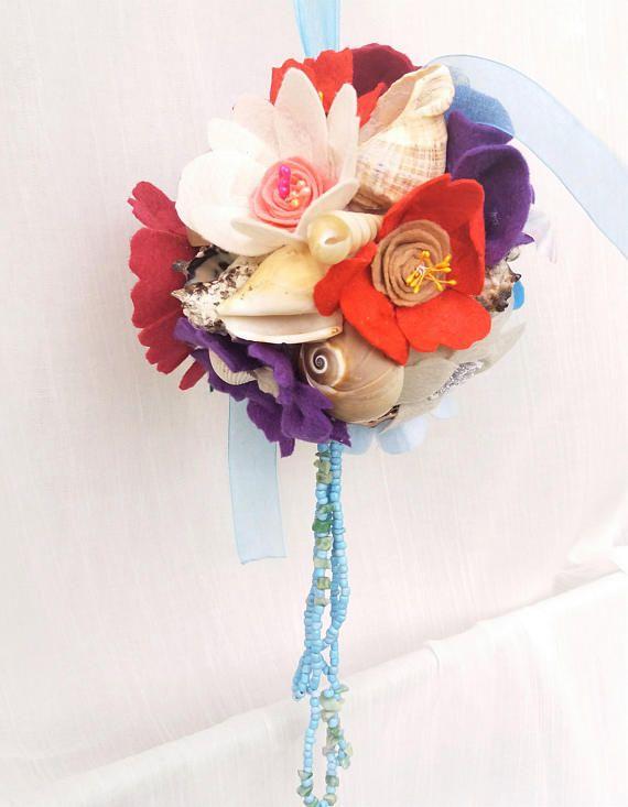 Beach wedding decor Flowers and shells sea party Navy theme decor Summer Flower girl bouquet Easy decor kissing ball Wedding memento  gift