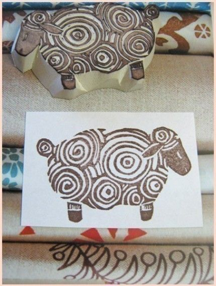 Curly sheep rubber stamp woolly love pinterest
