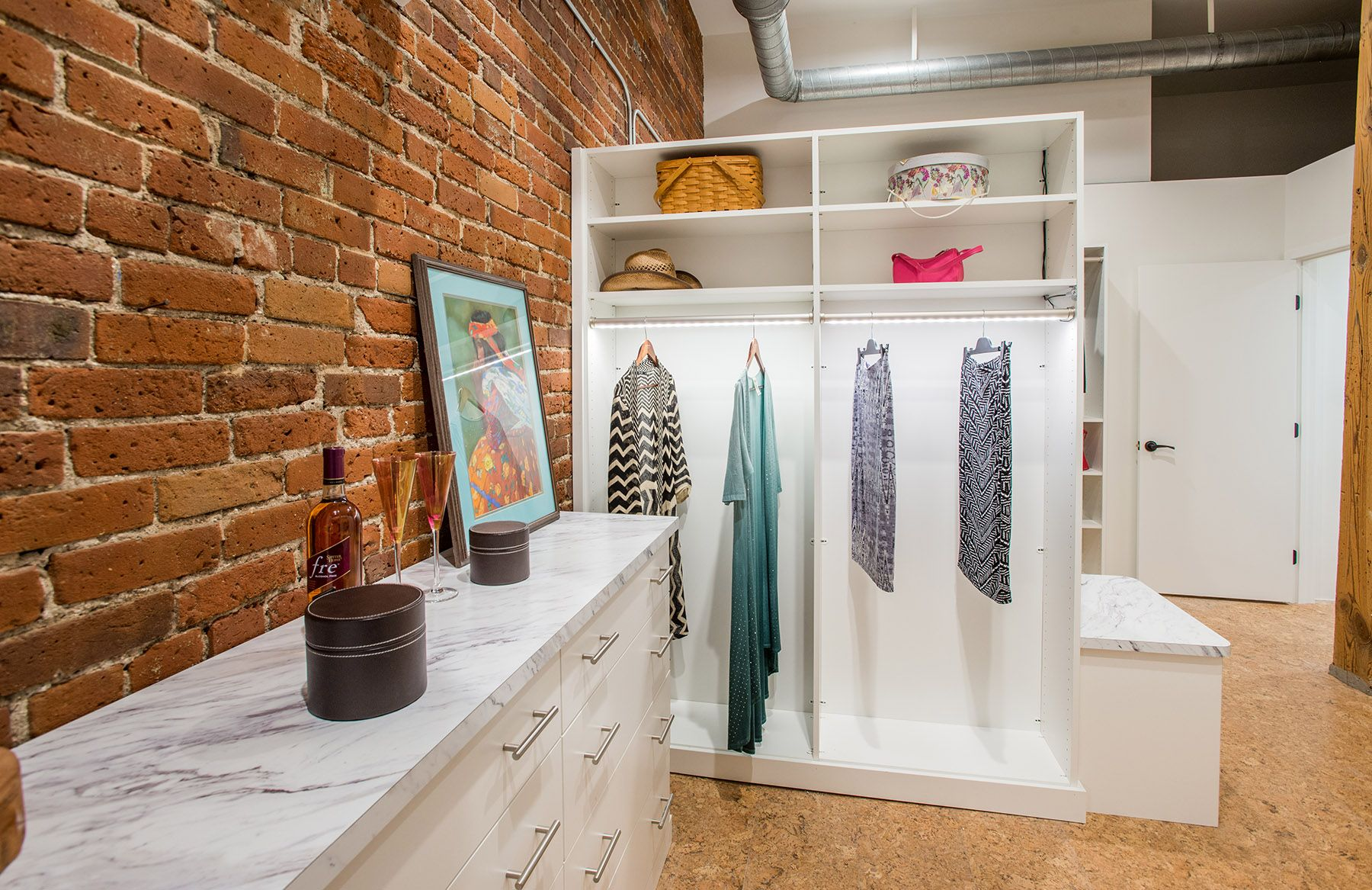 This Walk In Closet Built In This Denver Condo Features LED Lit Hanging Rods