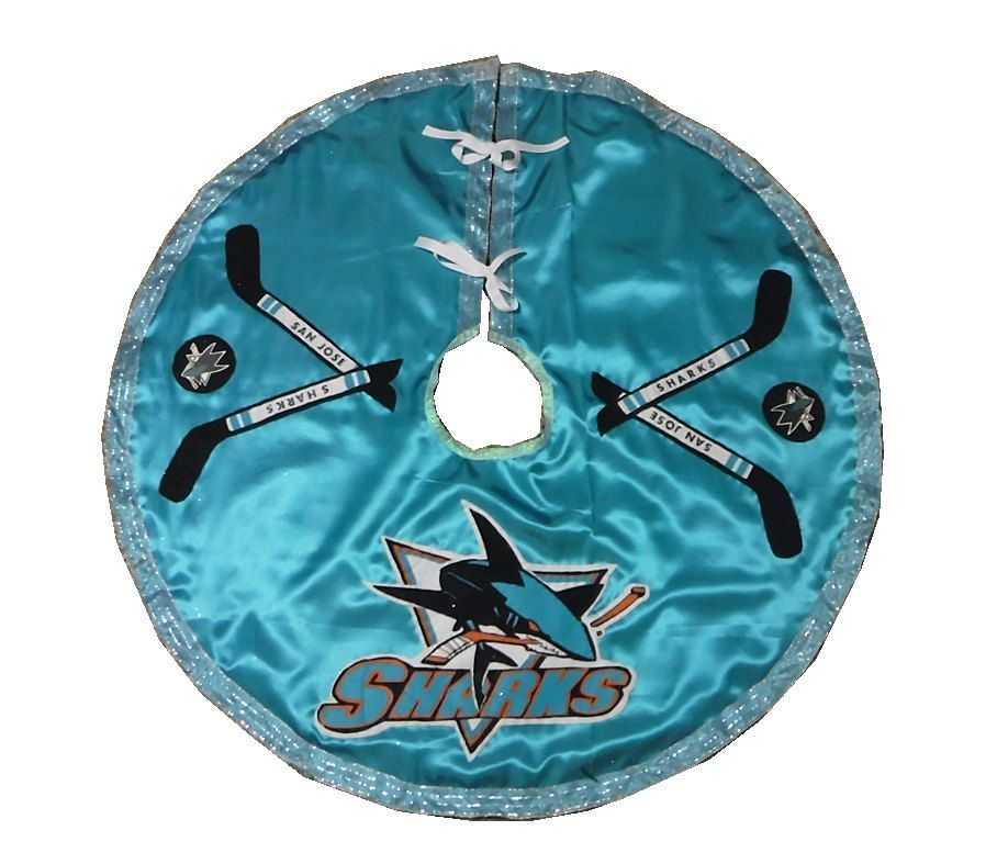 Aqua Christmas Tree Skirt: San Jose Sharks Hockey Christmas Tree Skirt