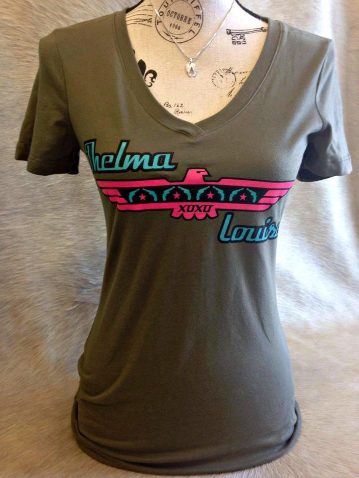 Thelma and Louise Military Green Scoop Tee with Turquoise and Pink Print