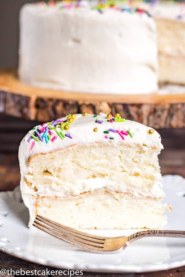Rich moist gluten free vanilla cake is perfect for birthdays